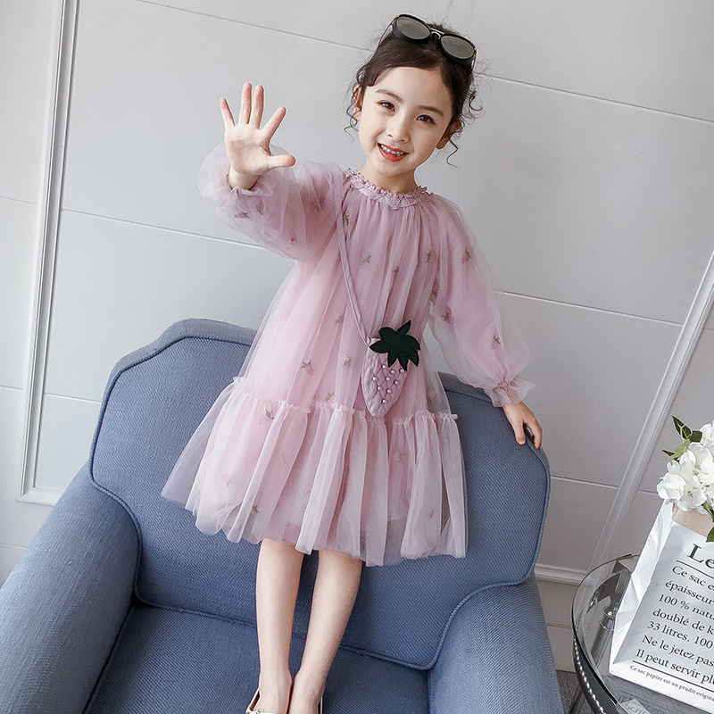 Girls' dress 2020 new spring and autumn style children's dress pengpeng yarn children's dress little girl Princess Dress