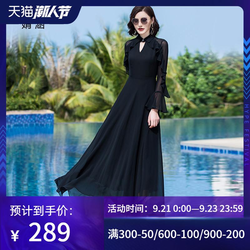 黑色裙子2020年新款雪纺V领夏天收腰显瘦长裙长款大摆长袖连衣裙