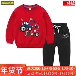 巴拉拉布比童装儿童加绒红色卫衣男童套装女童宝宝冬装挖机挖掘机
