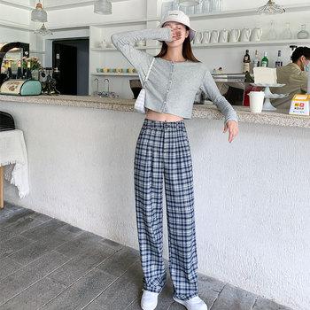 格子裤高腰垂感夏季宽松直筒休闲裤