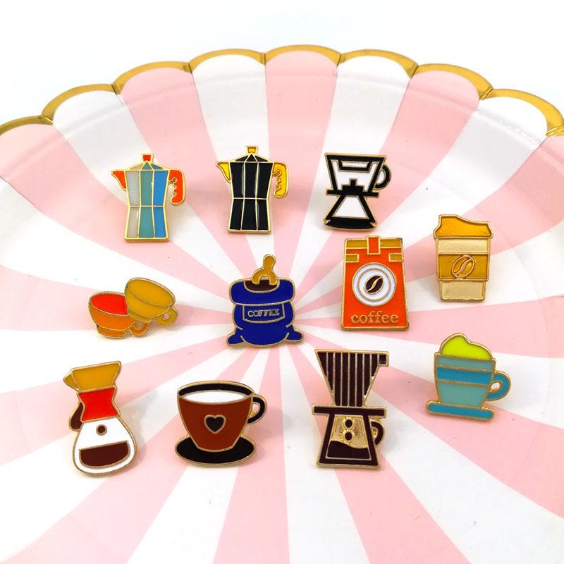 复古美式咖啡师胸针咖啡机咖啡壶杯纪念徽章礼物金属滴油胸花配饰 Изображение 1