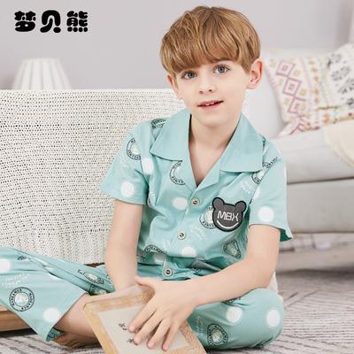 兒童睡衣男童夏季純棉短袖男孩小孩韓版全棉薄款空調服家居服夏款