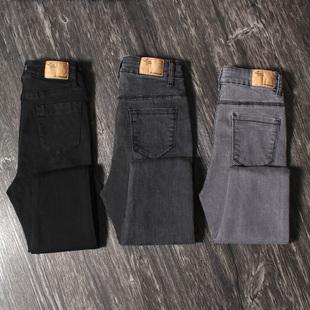 黑色牛仔裤女高腰紧身2019秋冬季加绒修身显瘦烟灰色小脚铅笔长裤品牌
