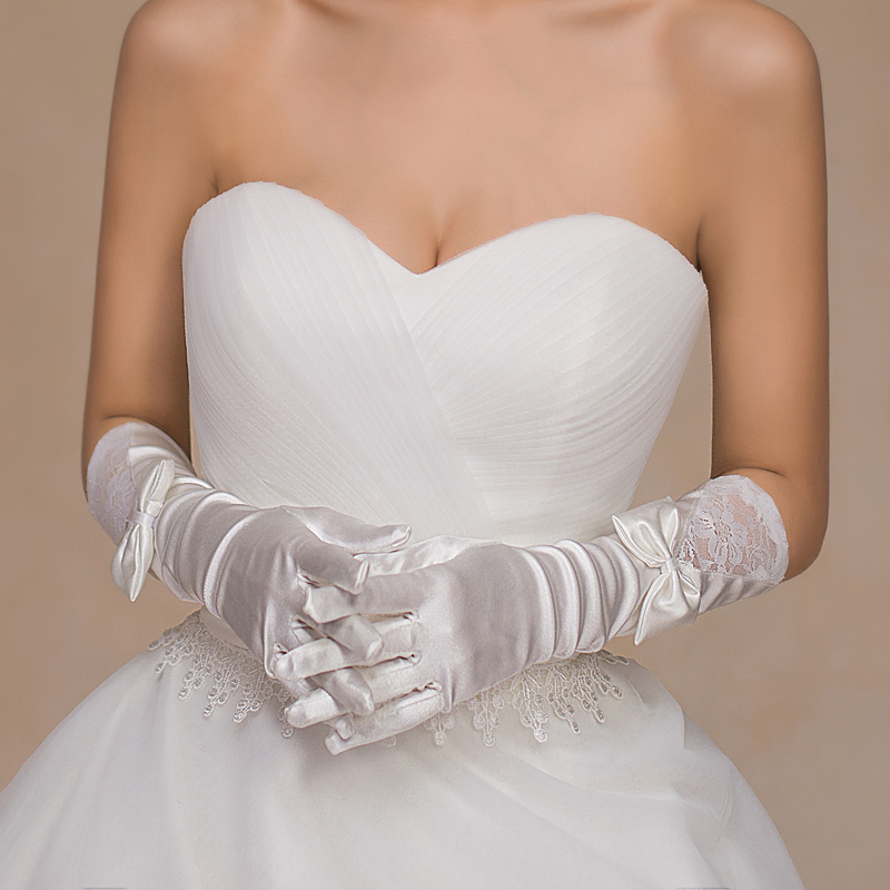 Bridal Gloves Long Bag refers to the new wedding dress in autumn and winter 2019 cheongsam accessories white Korean wedding
