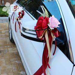 中式婚礼主婚车点缀后视镜门把手花副车队装饰仿真玫瑰结婚庆布置