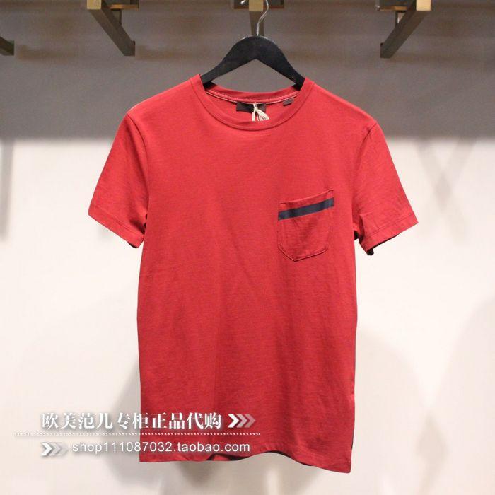 欧美范儿专柜正品杰克琼斯 红色男士圆领时尚短袖T恤半袖T恤