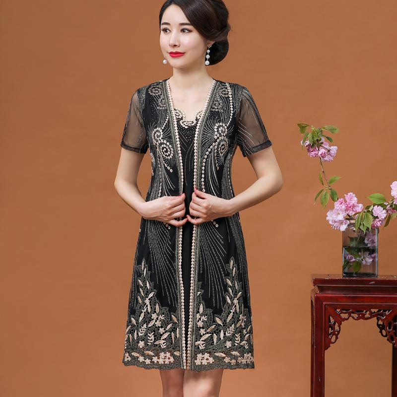 中老年大码女装连衣裙2020新款高贵洋气阔太太中年妇女妈妈装夏装