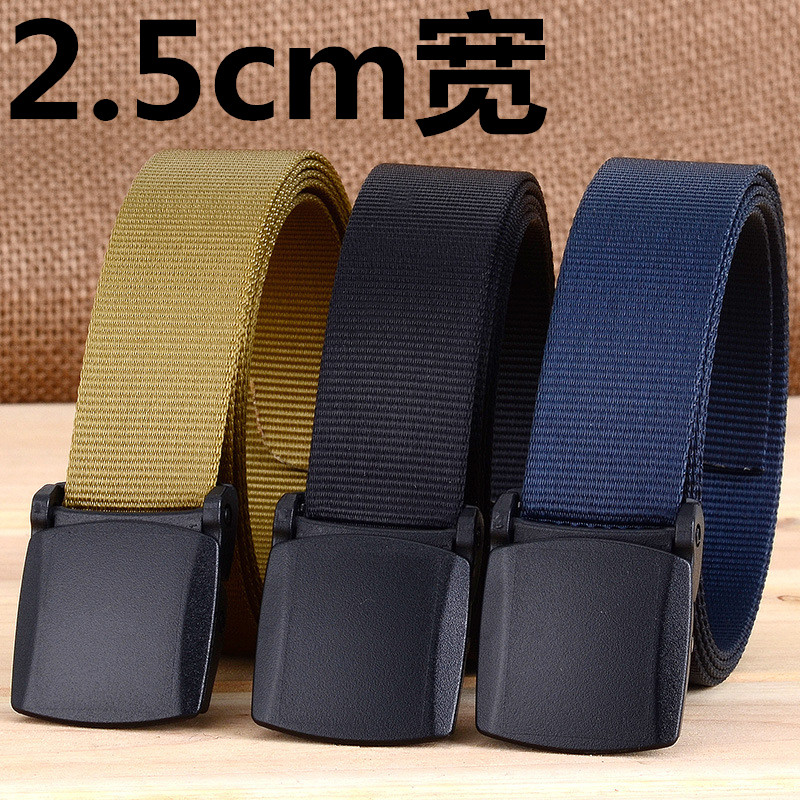 2.5cm wide simple plastic buckle nylon belt decoration mens leisure thin belt womens anti allergy narrow belt trendsetter