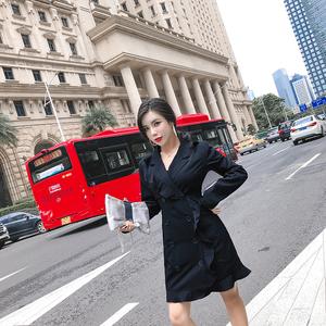 实拍2018新款荷叶边风衣式连衣裙女士中长款OL修身显瘦西装领外套