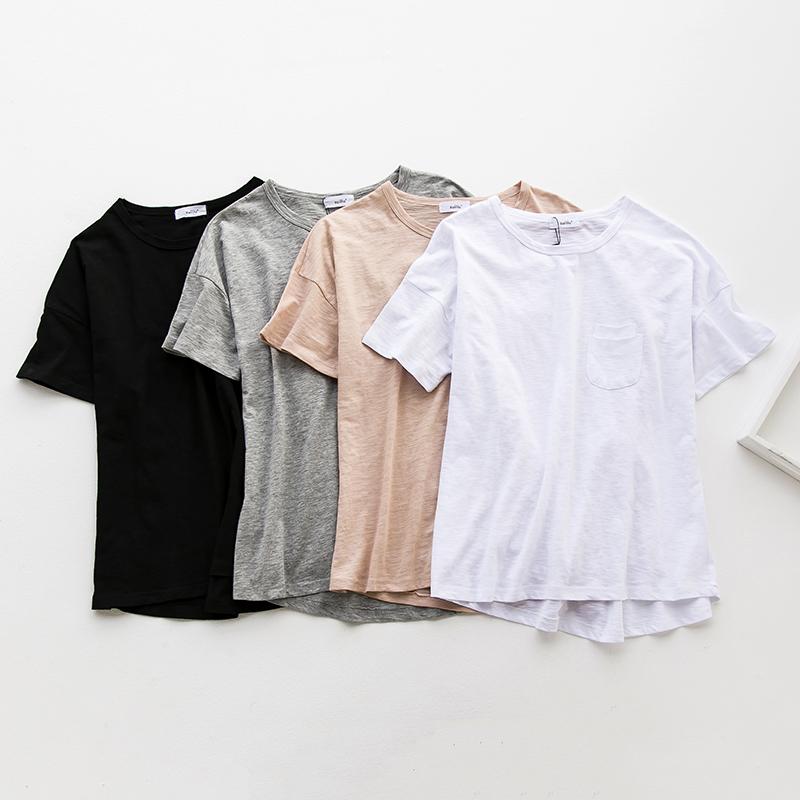 (现货)827【模特实拍】夏竹节中长款宽松口袋纯棉圆领短袖T恤
