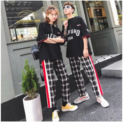 情侣装夏装套装2018新款韩版短袖bf原宿风宽松两件套男女学生班服