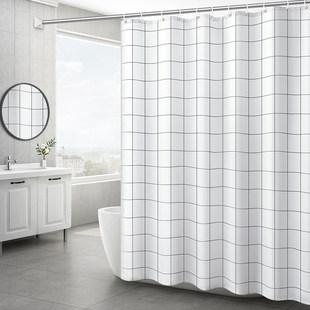 北欧宜家浴帘浴室卫生间洗澡防水布加厚防霉日本套装免打孔门帘子