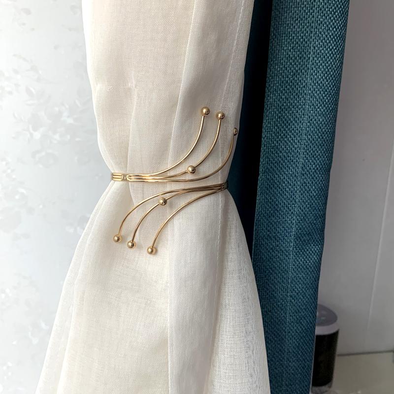 窗帘绑带轻奢高档金属扣环客厅卧室软装饰金色窗帘扣绑饰高档束带