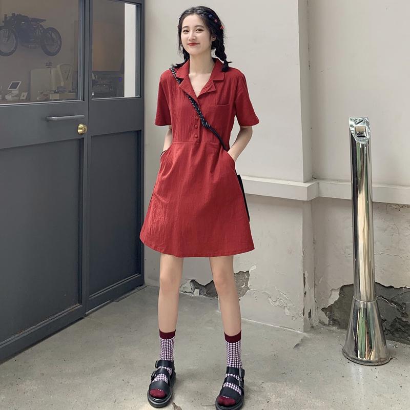 2020夏季新款港风宽松纯色衬衫连衣裙女