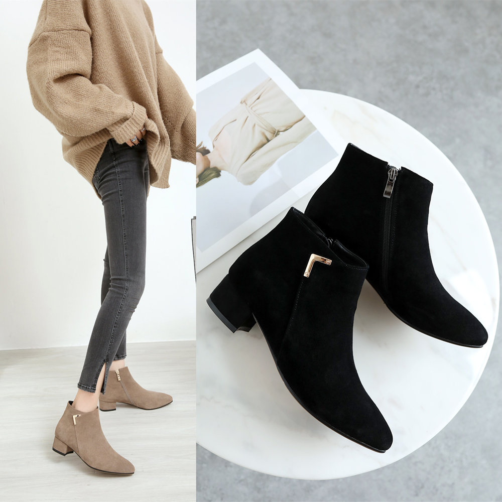 Shoe Girls Autumn and Winter New Genuine Leather Bare Boots Flat Bottom and Ankle Boots with Fleece Martin Boots Thick-heeled Tip Flat-heeled Girls Boots