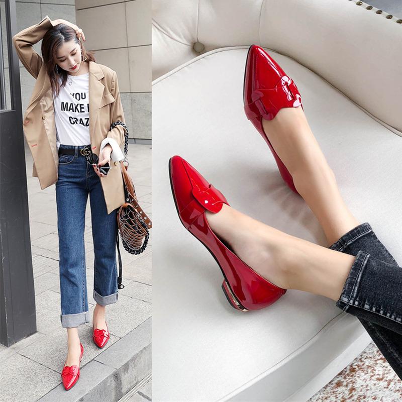 平底单鞋女2020新款秋季韩版真皮平跟蝴蝶结尖头红色浅口四季鞋子