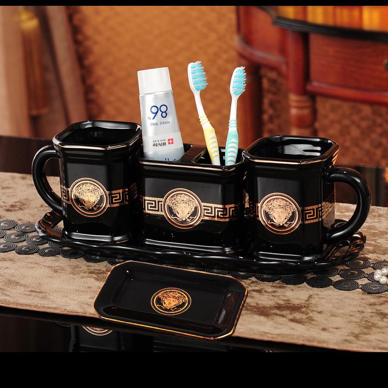 欧式陶瓷情侣卫浴简约洗漱套装5件套洗漱口杯牙刷架卫浴洗漱托盘