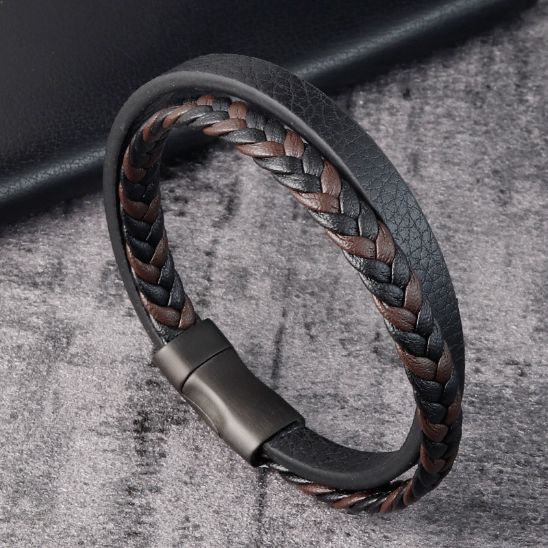 Leather Rope Bracelet Stainless Steel Leather woven Bracelet Black Leather Mens leather jewelry l20140