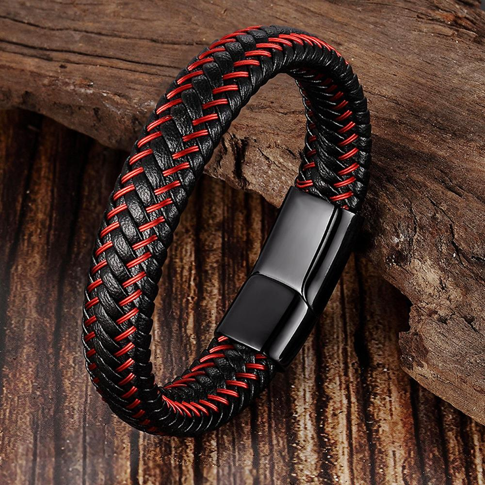 Leather Rope Bracelet Stainless Steel Leather woven Bracelet Leather Bracelet Red Bracelet mens leather jewelry l19170