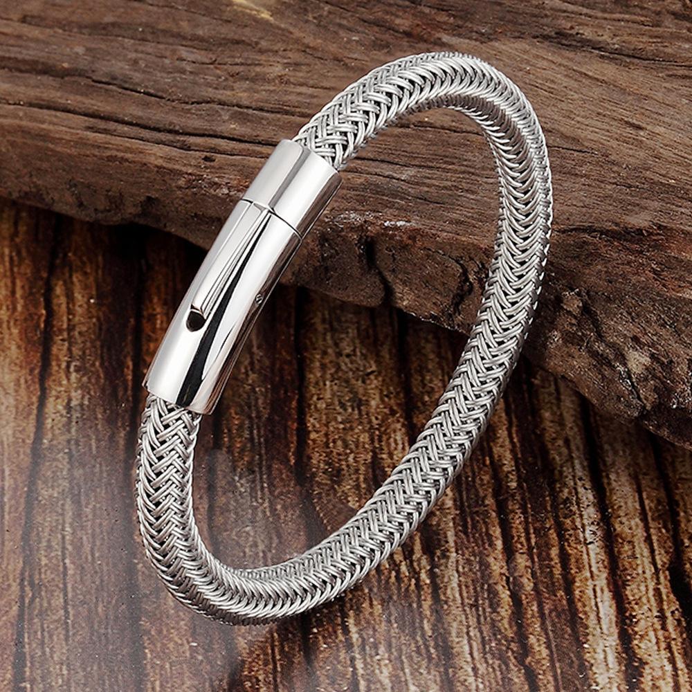 简约时尚 不锈钢手环男士魅力钛钢丝手链 磁铁插口手镯L19156