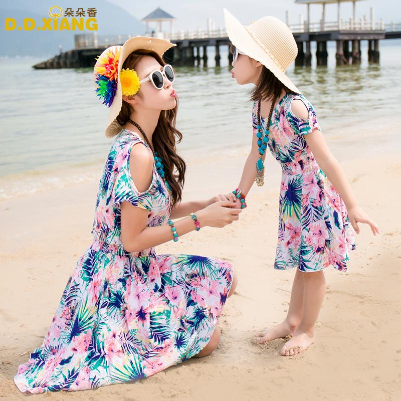 夏款度假 碎花母女裙