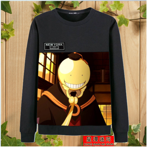 24K assassinating classroom, killing teachers, anime, young students, lovers, round neck, Black Warm inner fleece sweater