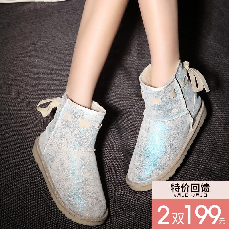 韩版冬季亮片雪地靴女蝴蝶结短筒防滑加厚磨砂短靴棉鞋学生女靴子
