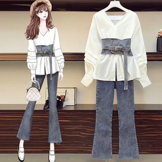 大码女装2020年早秋装新款显瘦洋气牛仔裤胖妹妹减龄时尚两件套装