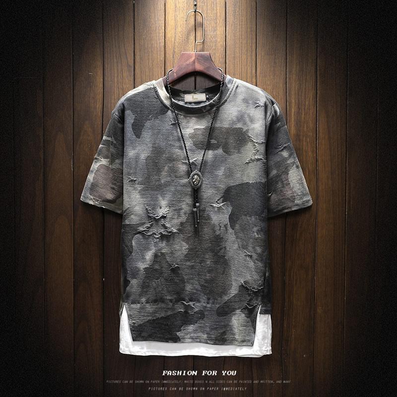 夏季男士短袖T恤韩版迷彩假两件夏装潮牌2019新款半袖衣服潮工装