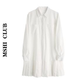 【现货】春装长袖polo领衬衫裙百褶裙