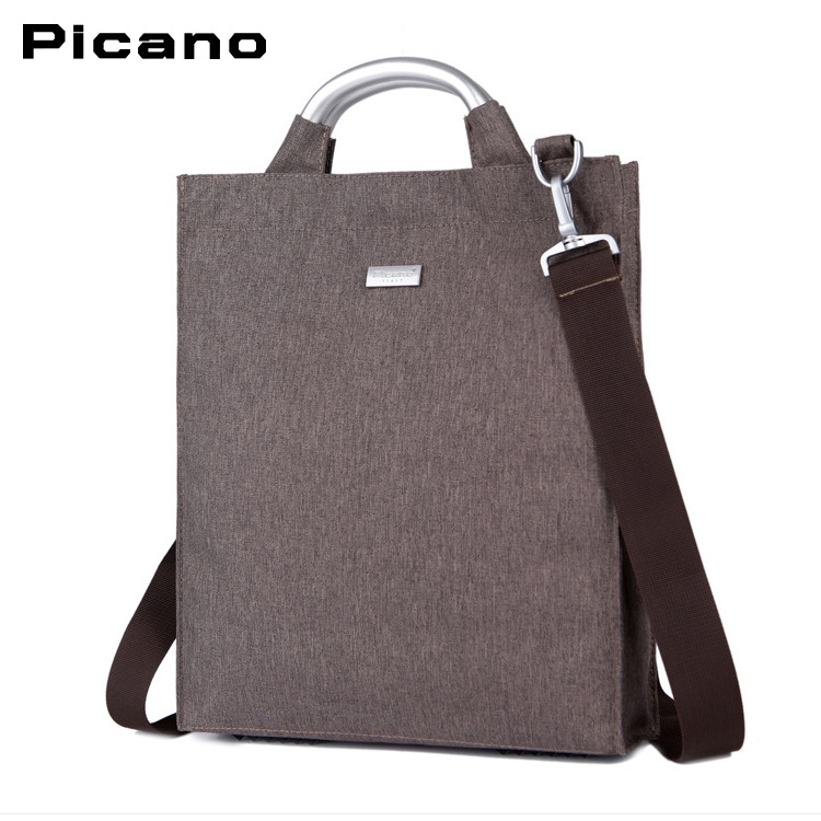 Picano mens new business fashion trend simple one shoulder portable cross bag black coffee 14 inch computer