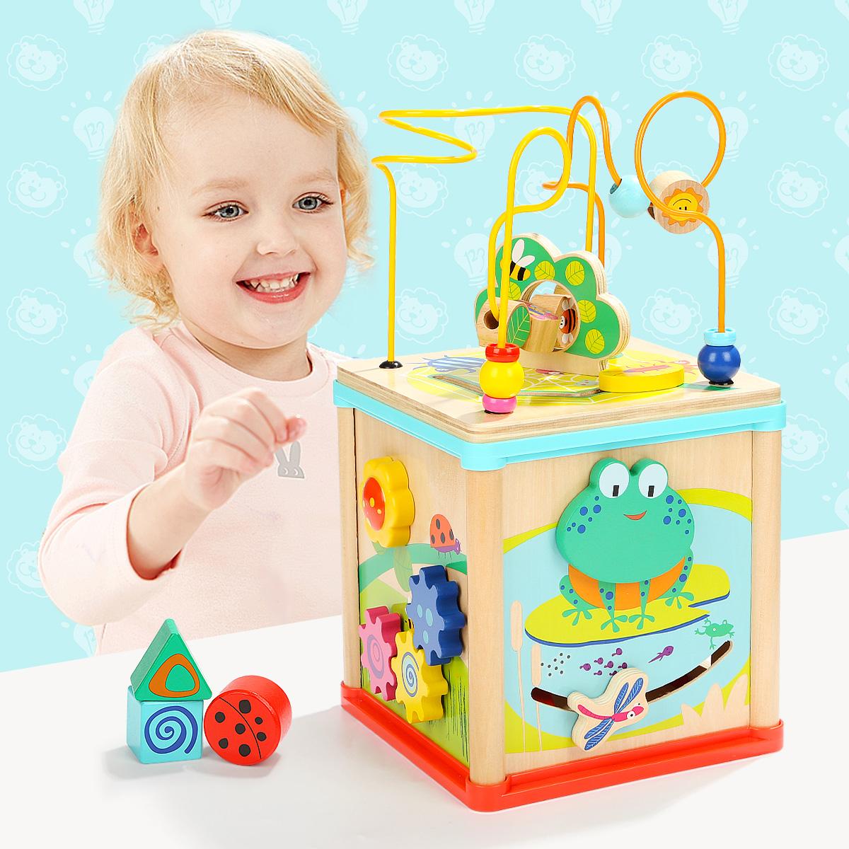 特宝儿青蛙动物绕珠百宝箱婴儿童男女宝宝1-2-3周岁早益智玩具,可领取3元天猫优惠券