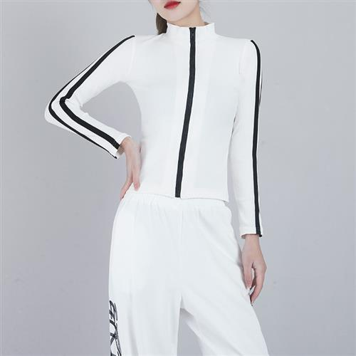 High collar sports Long Sleeve Jacket female thread slim fit running Yoga Dance o top black zipper cardigan