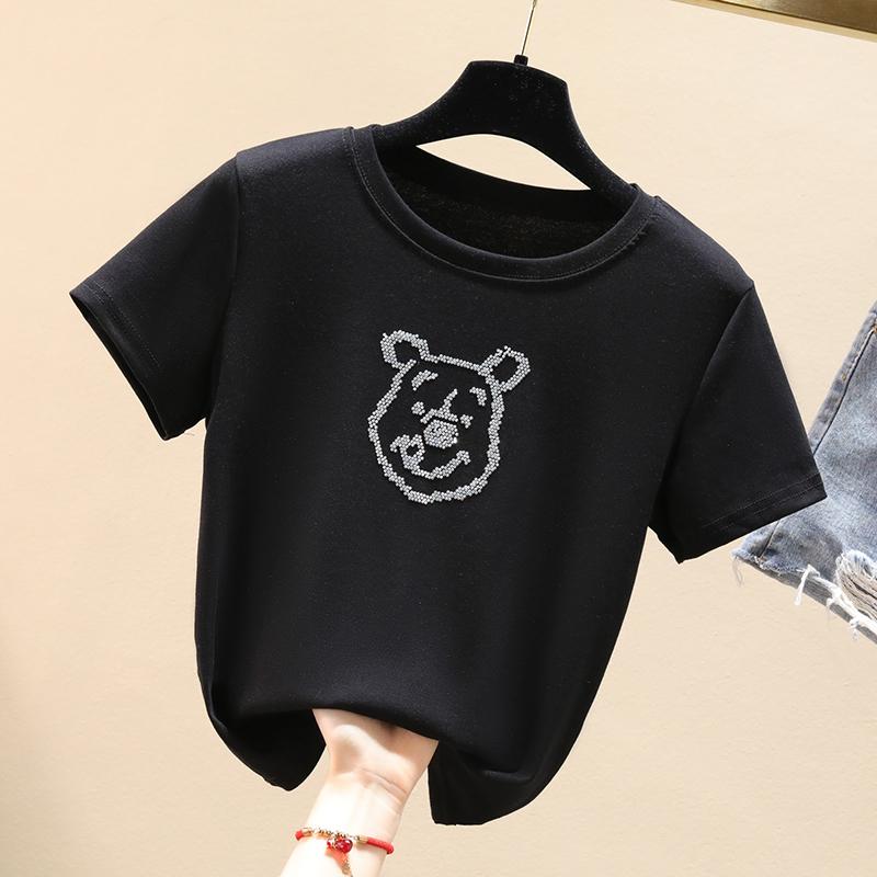 棉奥戴尔时尚烫画韩版修身显瘦T桖短款上衣