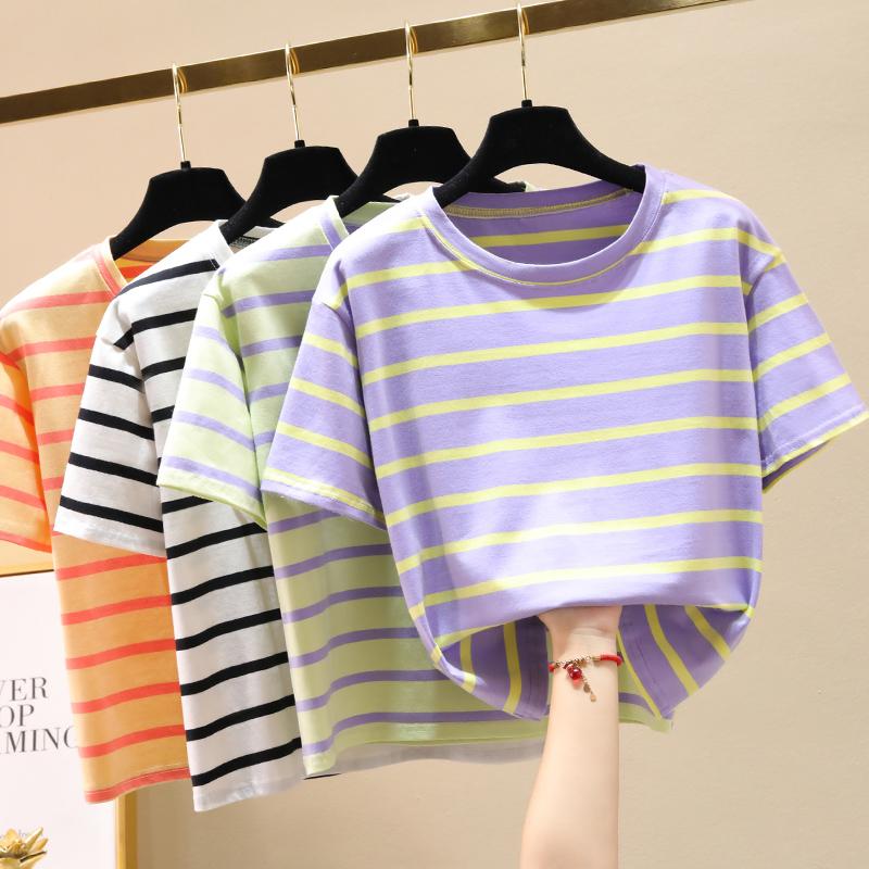 夏季新品 纯棉时尚条纹宽松短款T桖