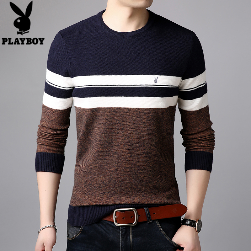 Playboy sweater mens T-shirt spring long sleeve Crew Neck Sweater striped bottom breathable T-shirt for men