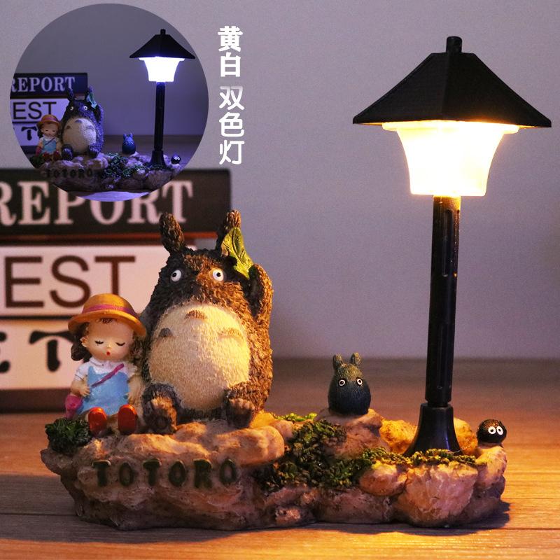 宫崎骏动漫大眼猫小夜灯创意树脂桌面装饰摆件送男女生日伴手礼物