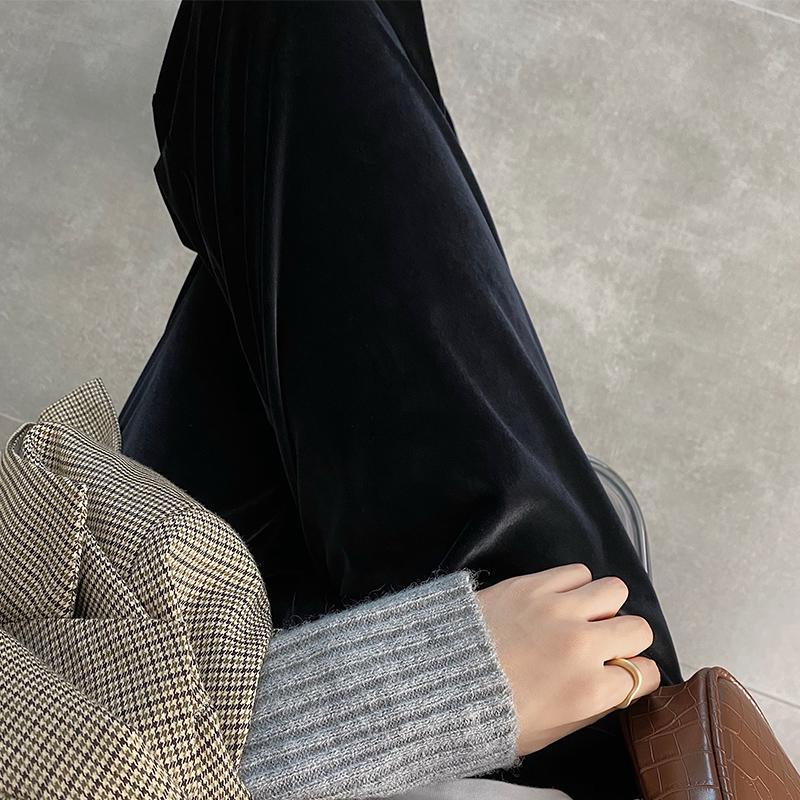金丝绒阔腿裤子女显瘦百搭春秋2021新款宽松高腰休闲垂坠感拖地长