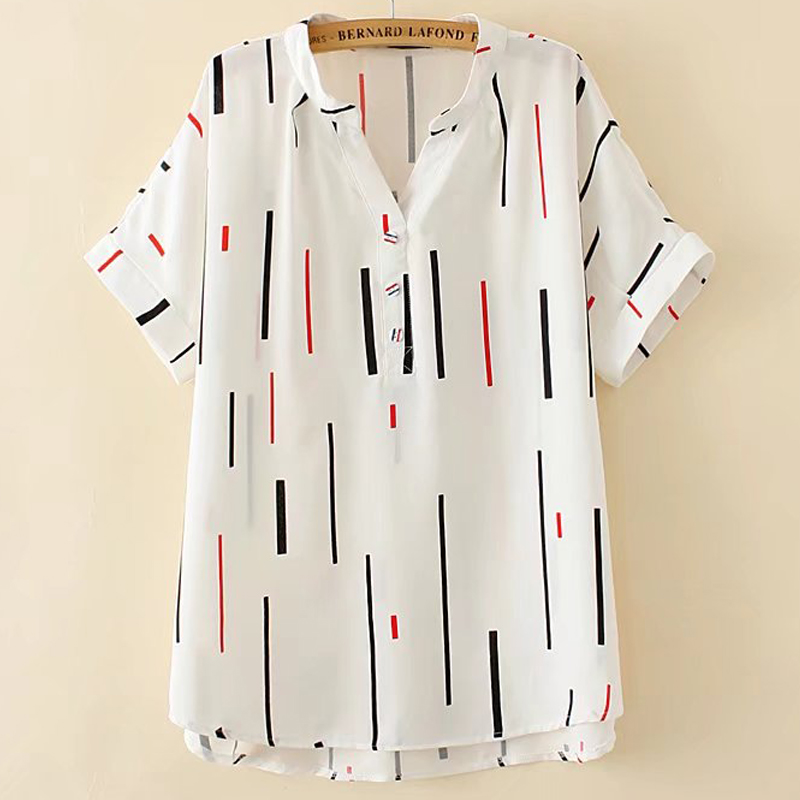 加肥加大码女装2018夏新款韩版宽松显瘦胖mm条纹V领短袖衬衫200斤