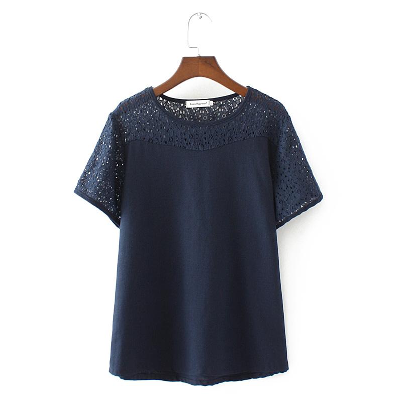 加肥加大码女装2018夏新款韩版宽松胖mm蕾丝棉麻短袖T恤上衣200斤