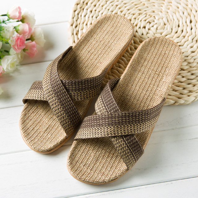 亚麻复古木地板拖鞋男家居家用外穿防滑软厚底吸汗藤草透气凉拖女