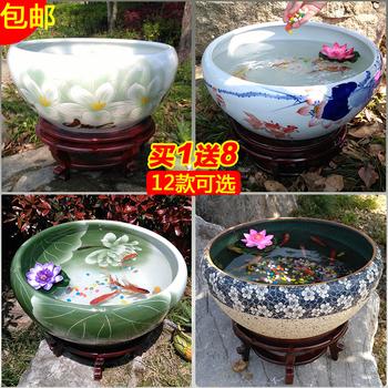 景德镇陶瓷鱼缸包邮手绘桌面荷花盆