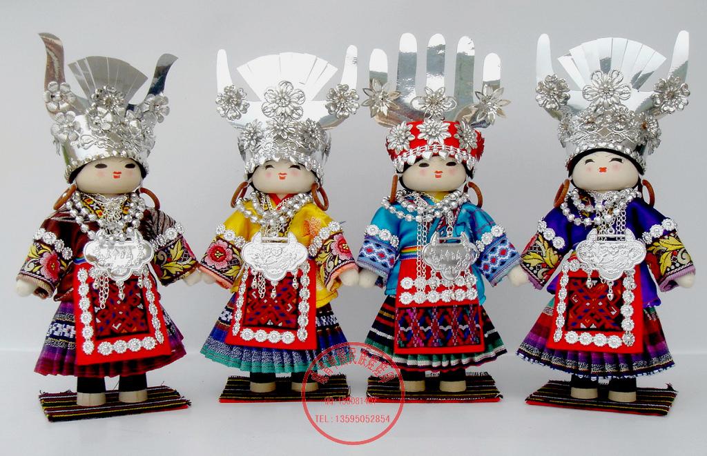 晓青工艺`27cm苗族大盛装娃娃 贵州高档特色手工艺品商务外事礼品