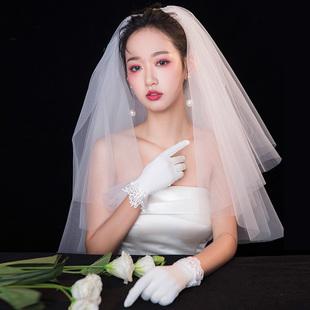2021新娘婚纱新款头纱头饰超仙森系领证双层蓬蓬旅拍照道具头纱