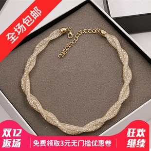 Japan and South Korea simple mesh diamond chain necklace short paragraph clavicle chain Korean fashion wild spring and summer small fresh Accessories