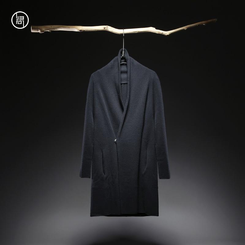 归心原创设计师中国风男装中长款羊毛针织衫薄外套男秋