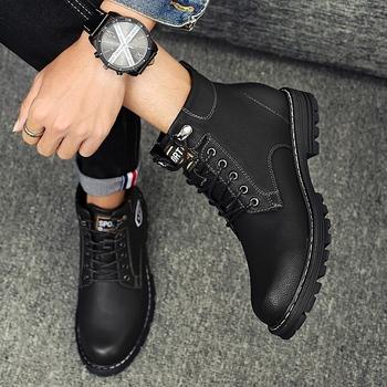 冬季男高帮工装鞋英伦风加绒马丁靴