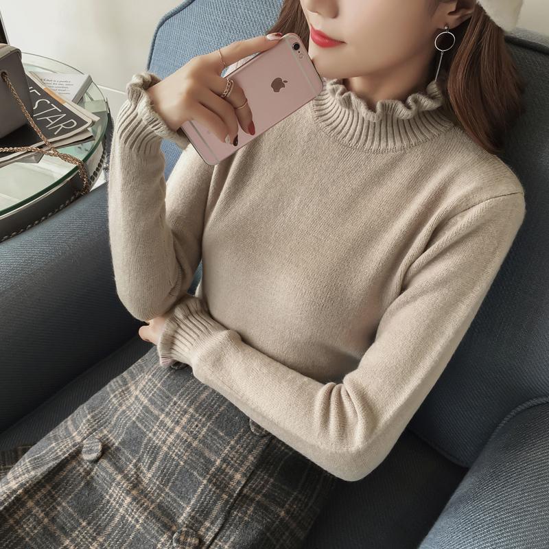 秋冬季外套女装荷叶边半高领长袖打底衫加厚针织衫女套头毛衣上衣