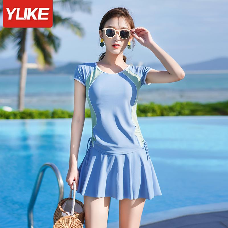 泳衣女夏2021年新款时尚保守遮肚显瘦分体学生游泳衣海边大码泳装