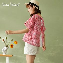 Vera Veins2019夏季新款减龄娃娃款上衣宽松短袖圆领印花衬衫女